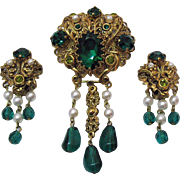 Signed West Germany Vintage Brooch Earrings Set Emerald Green Peridot Rhinestone Pearl Filigree