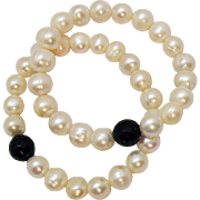 Vintage Fresh Water Baroque Pearl Black Onyx Stretch Bracelet