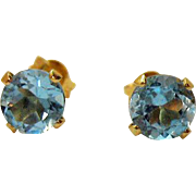 Vintage Signed CID Sky Blue Topaz Solitaire 14K Yellow Gold Stud Earrings