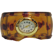 Fabulous Vintage Translucent Lucite Rootbeer Dotted Bold Cuff Wrist Watch Bangle Bracelet