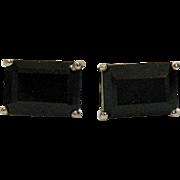 Vintage Black Spinel Emerald Cut Platinum over Sterling Silver Pierced Earrings