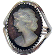 Signed Burt Cassell Vintage 12K Gold Filled Shell Cameo Ring