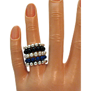 Vintage Set of 5 Stackable Stretch Rings Culture Pearl Lapis Onyx Sterling Silver