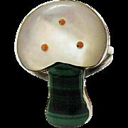 Zuni Native American Indian Vintage Inlay Mushroom Sterling Silver Ring MOP Malachite Coral