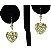 Amazing Vintage 14K Gold Heart Filigree Pierced Earrings