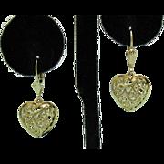 Amazing Vintage 14K Gold Heart Filigree Pierced Earrings