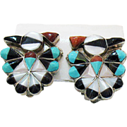 Stunning Vintage Zuni Native American Indian Sterling Silver Peyote Bird Earrings