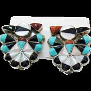 Stunning Vintage Zuni Native American Indian Sterling Silver Peyote Bird Earrings