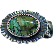 Vintage Navajo Native American Indian Signed Sterling Silver Petrified Wood Ring