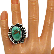 Stunning Navajo Native American Indian Sterling Silver Vintage Turquoise Ring