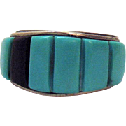 Signed Turquoise Onyx Sterling Silver Vintage Ring Corn Row Navajo Native American Indian