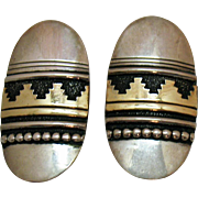 Bold Signed Tommy Singer Vintage Navajo Native American Indian Earrings