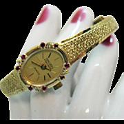 New Old Stock Vintage Signed Gruen Ruby Diamond Golden Woman's Wrist Watch Original Case