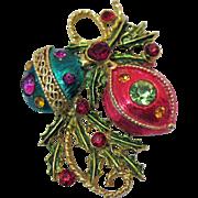 Festive Vintage Christmas Enameled Rhinestone Brooch