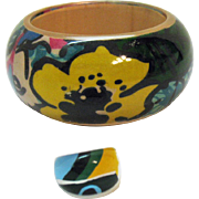 Awesome Pop Art Huge Vintage Lucite Hand Painted Bubble Bangle Bracelet Ring Set