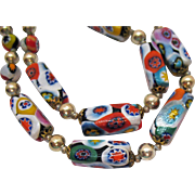 Beautiful Vintage Glass Millefiore Beaded Necklace