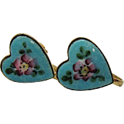 Vintage Guilloche Enameled Pink Rose Heart Screw Back Earrings