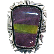 Bold Navajo Native American Indian Sterling Silver Charoite Vintage Ring
