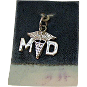 Vintage Signed Wells Sterling Silver Medical Doctor Caduceus Symbol Charm Carded