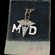 Vintage Signed Wells Sterling Silver Medical Doctor Caduceus Symbol Charm Carded