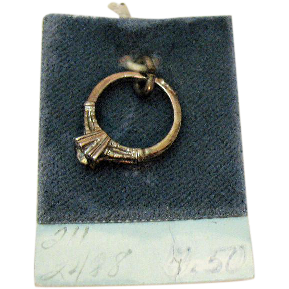 Vintage Pair Signed Wells Sterling Silver CZ Wedding Ring Engagement Ring Charms