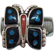 Gorgeous Zuni Native American Indian Figural Butterfly Vintage Sterling Silver Ring