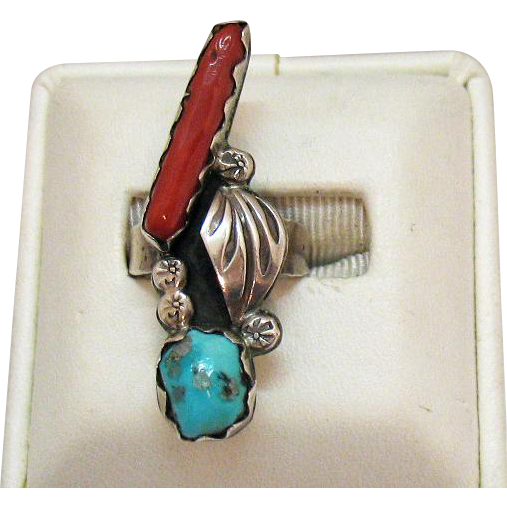 Native American Indian Southwest Sterling Silver Navajo Vintage Coral Turquoise Ring
