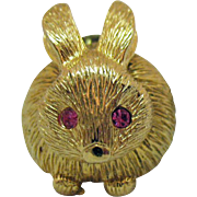 Adorable Vintage Signed Gold Crown Figural Bunny Rabbit Trembler Rhinestone Clutch Pin Brooch