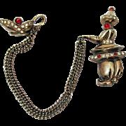 Vintage Figural Gene an Lantern Chatelaine Rhinestone Brooch