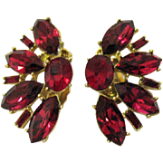 Huge Vintage Red Rhinestone Golden Clip Earrings