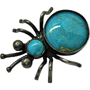 Super Cute Vintage Silver Turquoise Beetle Bug Brooch