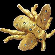 Vintage Bumble Bee Trembler Rhinestone Golden Figural Brooch