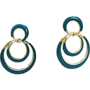 Beautiful Vintage Enameled Teal Golden Hoop Pierced Earrings