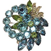 Spectacular Signed Eisenberg Vintage Blue Green Clear Rhinestone Brooch Pre 1955