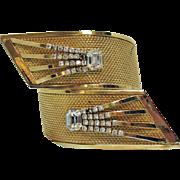 Rare Signed Vargas Vintage Art Deco Star Burst Rhinestone Bracelet Massive