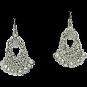 Signed LC Liz Claiborne Matt Silver Filigree Vintage Chandler Pierced Earrings