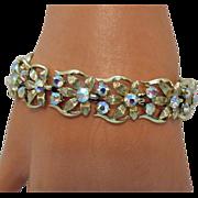 Signed Coro Vintage Golden Flower Rhinestone Bracelet