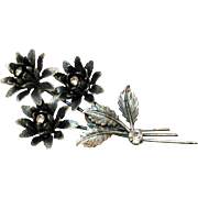 Unusual Trembler Rhinestone Vintage Triple Flower Silver Brooch 4 Inches Long