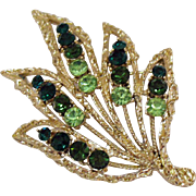 Beautiful Vintage Large Emerald Peridot Green Rhinestone Golden Brooch