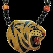 Unusual Vintage Laminated Resin Big Cat Tiger Necklace