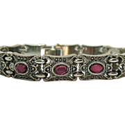 Heavy Vintage Fuchsia Stone Marcasite Silver Colored Rhodium Plated Bracelet
