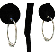 Vintage Sterling Silver Beaded Pierced Hoop Earrings