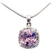 Rare Vintage AVON of Belleville Pink Cushion Cut Cubic Zirconia Pendant Necklace