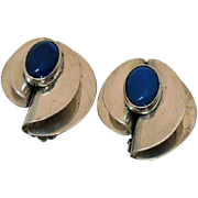 Stunning Signed Taxco Mexico TN-44 925 Mid Century Modern Vintage Clip Earrings Sterling Silver