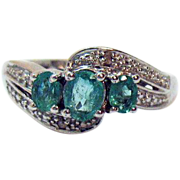 Gorgeous Vintage Signed Sterling Silver Zambian Emerald Diamond Ring Unworn