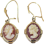 Gorgeous Vintage 14K Gold Shell Cameo Pierced Earrings