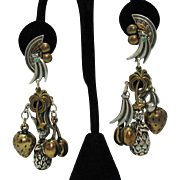 Signed La Contessa by Mary Demarco Vintage Figural Charm Pierced Earrings Tropical Delight