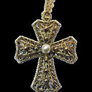 Bold Vintage Golden Faux Pearl Large Cross Pendant Necklace