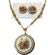 Signed Vintage West Germany Sugar Coated Floral Transferware Necklace Earrings Set Original Card