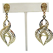 Feather Light Filigree Vintage Abstract Heart Pierced Earrings